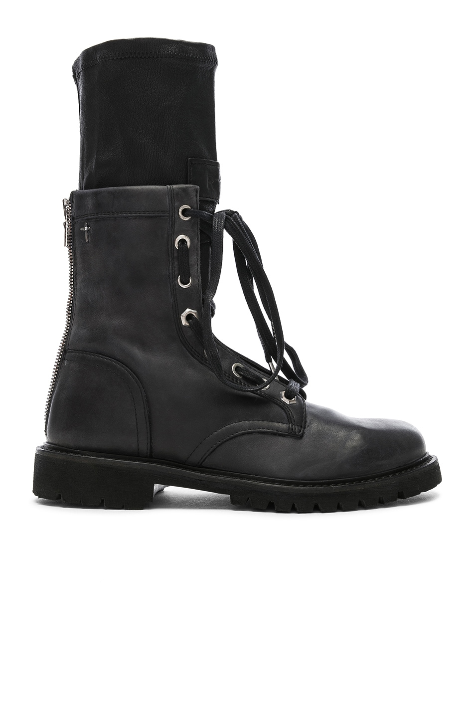 Image 1 of RtA Leather Combat Boots in Blackout