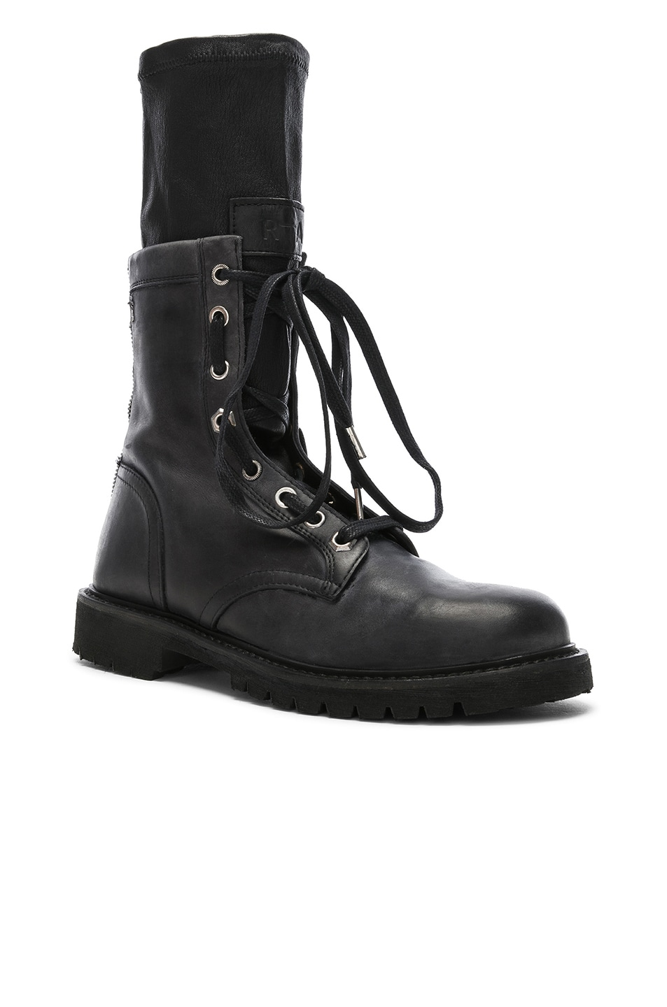 Image 2 of RtA Leather Combat Boots in Blackout