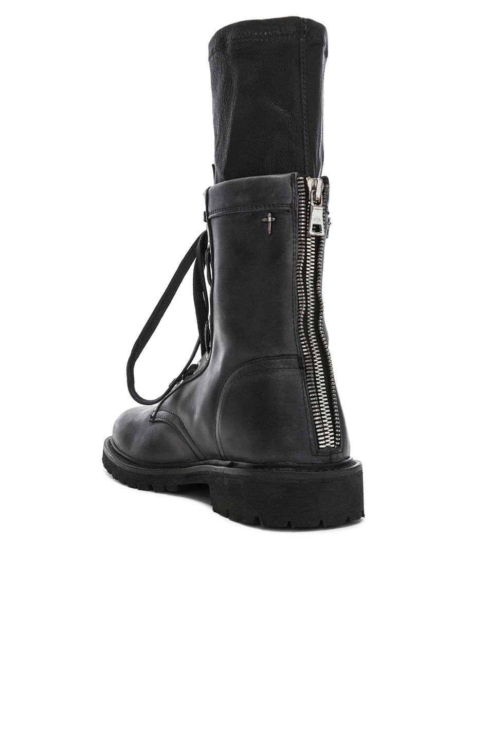 Image 3 of RtA Leather Combat Boots in Blackout