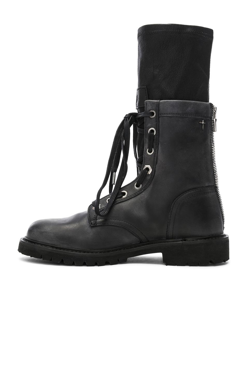 Image 5 of RtA Leather Combat Boots in Blackout