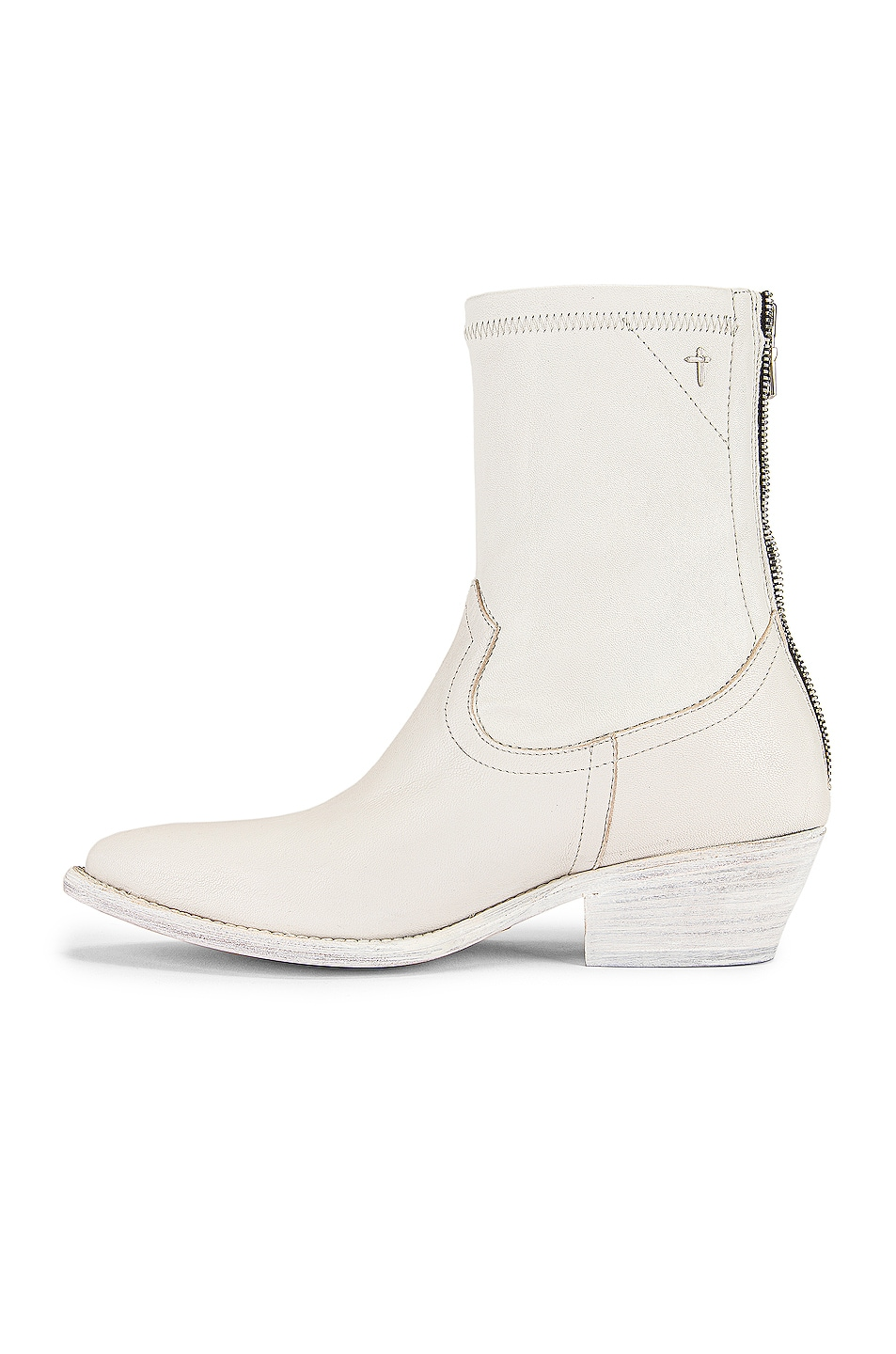 Image 5 of RtA Short Western Boot in White Leather
