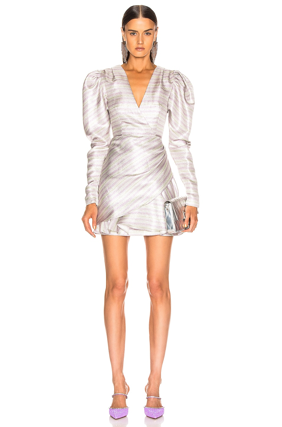 Image 1 of ROTATE Wrap Effect Metallic Mini Dress in Purple
