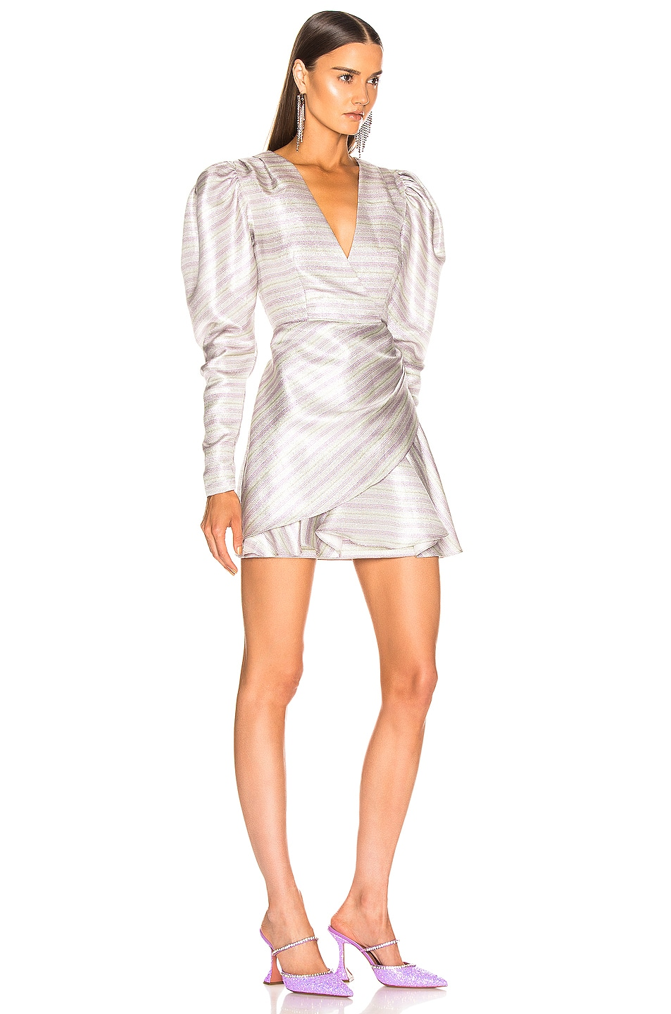 Image 2 of ROTATE Wrap Effect Metallic Mini Dress in Purple