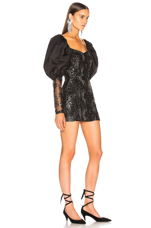 Image 2 of ROTATE Sequin Embellished Puff Shoulder Mini Dress in Black