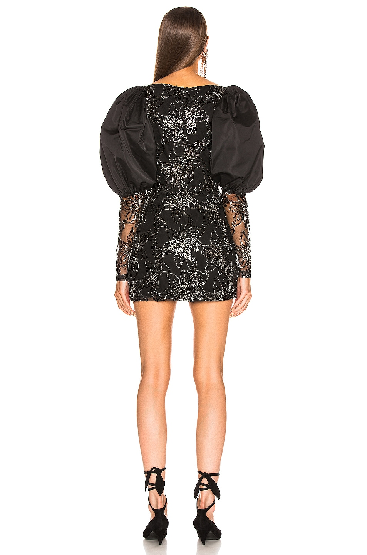 Image 3 of ROTATE Sequin Embellished Puff Shoulder Mini Dress in Black