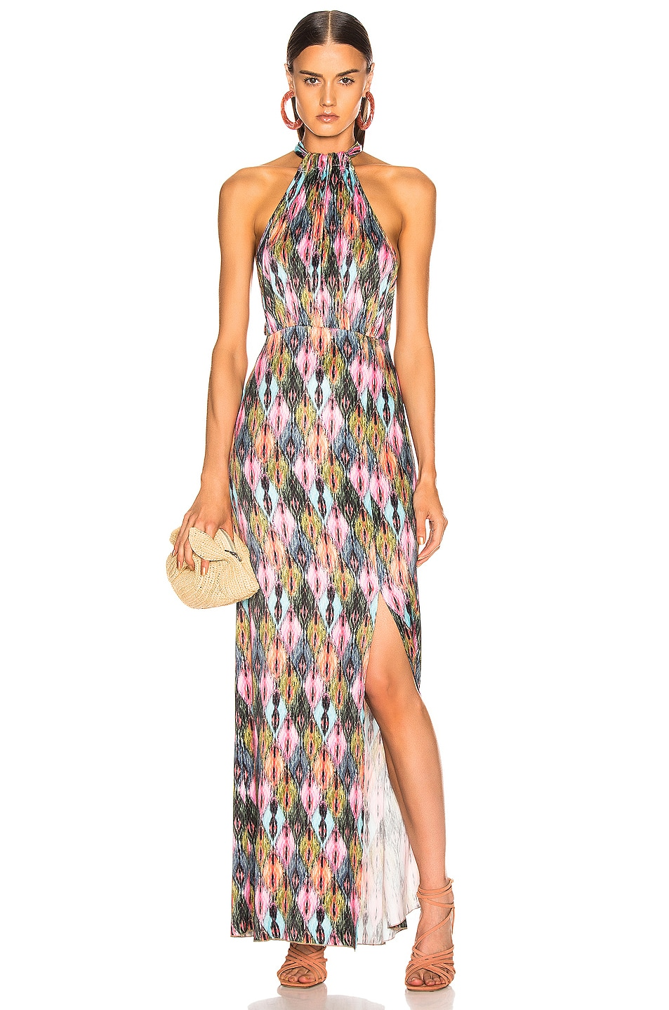 Image 1 of ROTATE Halter Style High Slit Maxi Dress in Print