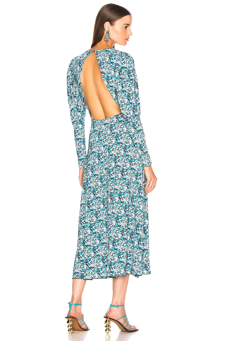 Image 1 of ROTATE Long Sleeve Open Back Midi Dress in Cornflower Seed Pearl Combo