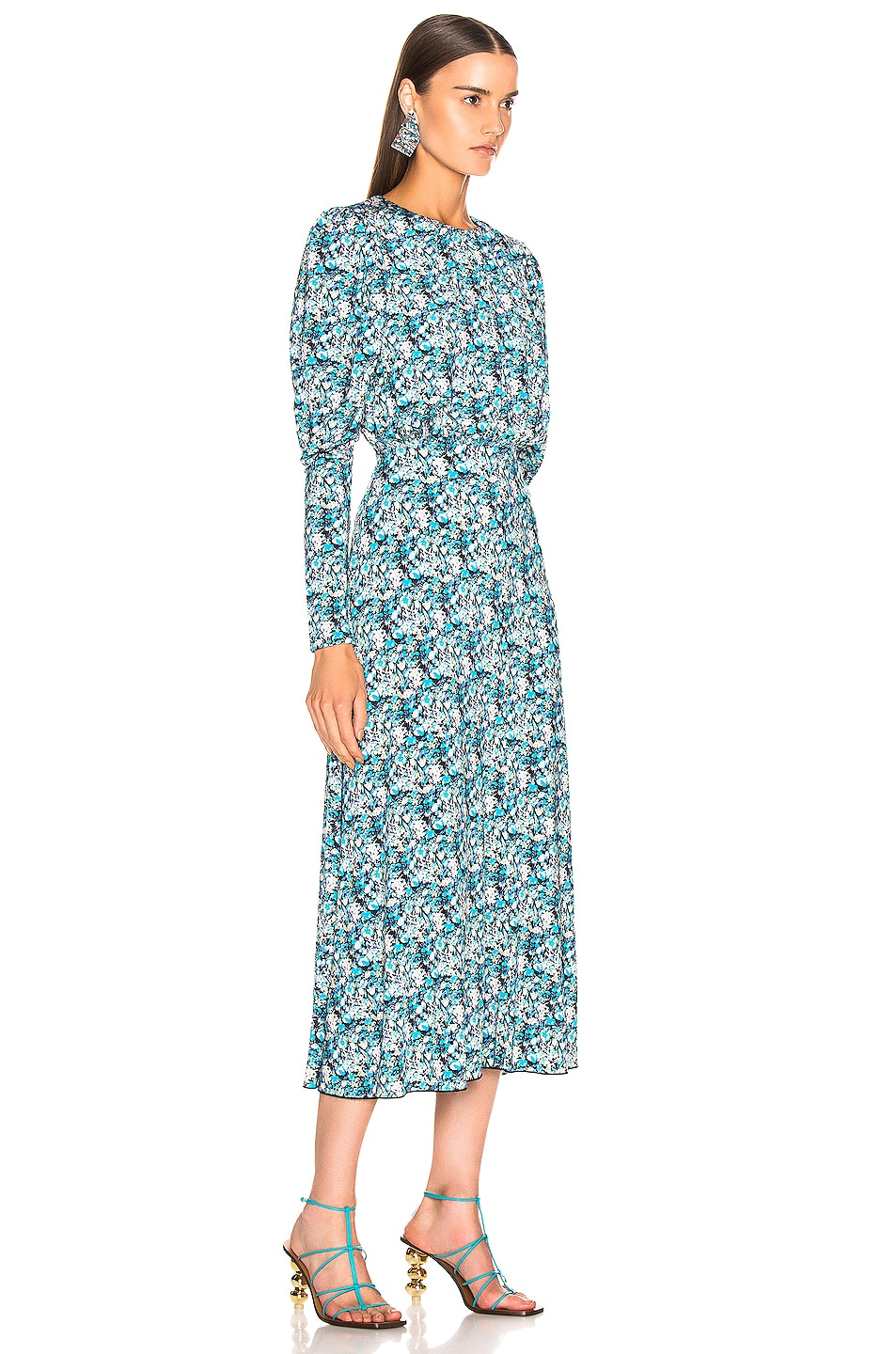 Image 3 of ROTATE Long Sleeve Open Back Midi Dress in Cornflower Seed Pearl Combo