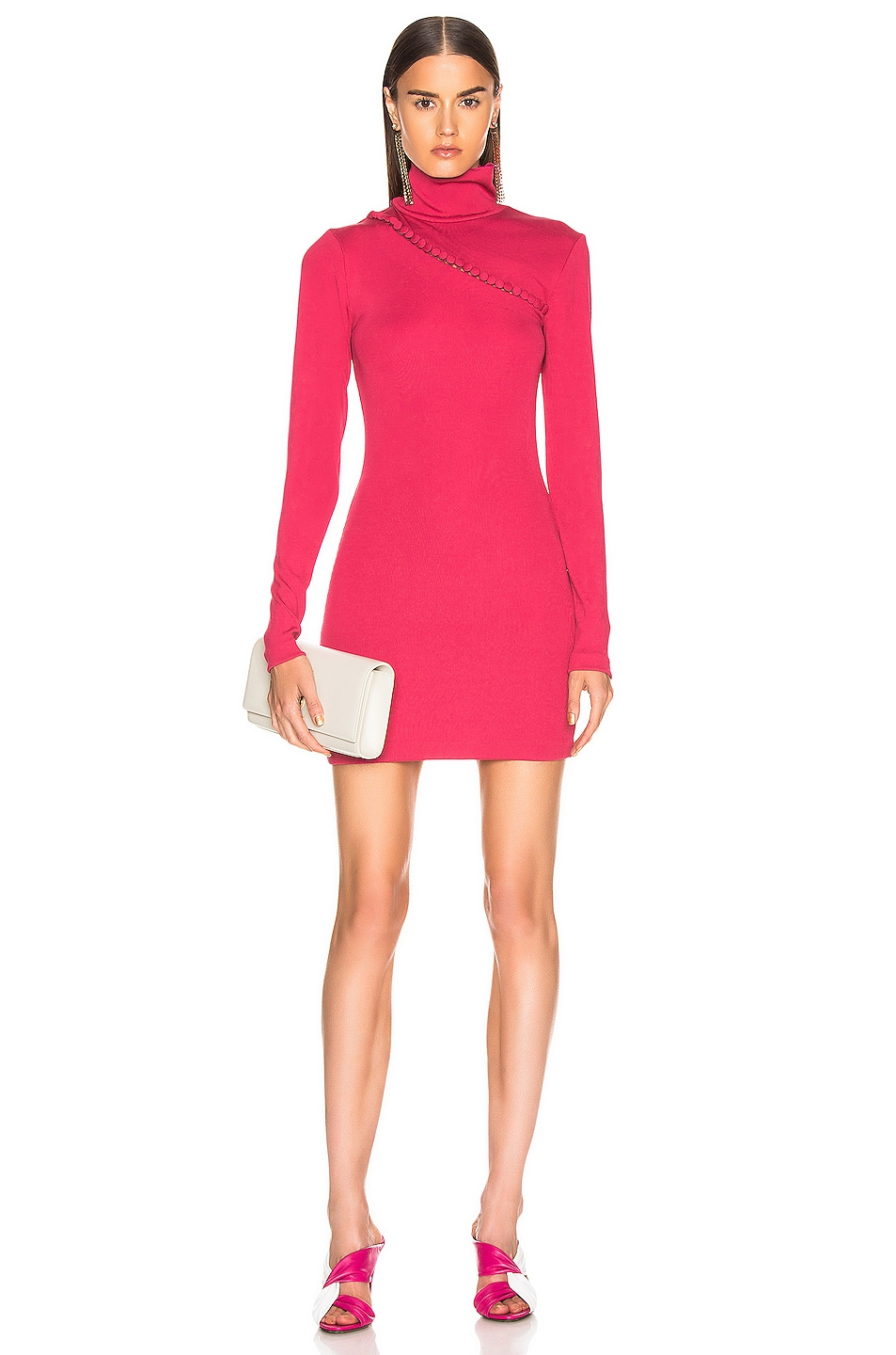 Image 1 of ROTATE Long Sleeve Turtleneck Mini Dress in Pink