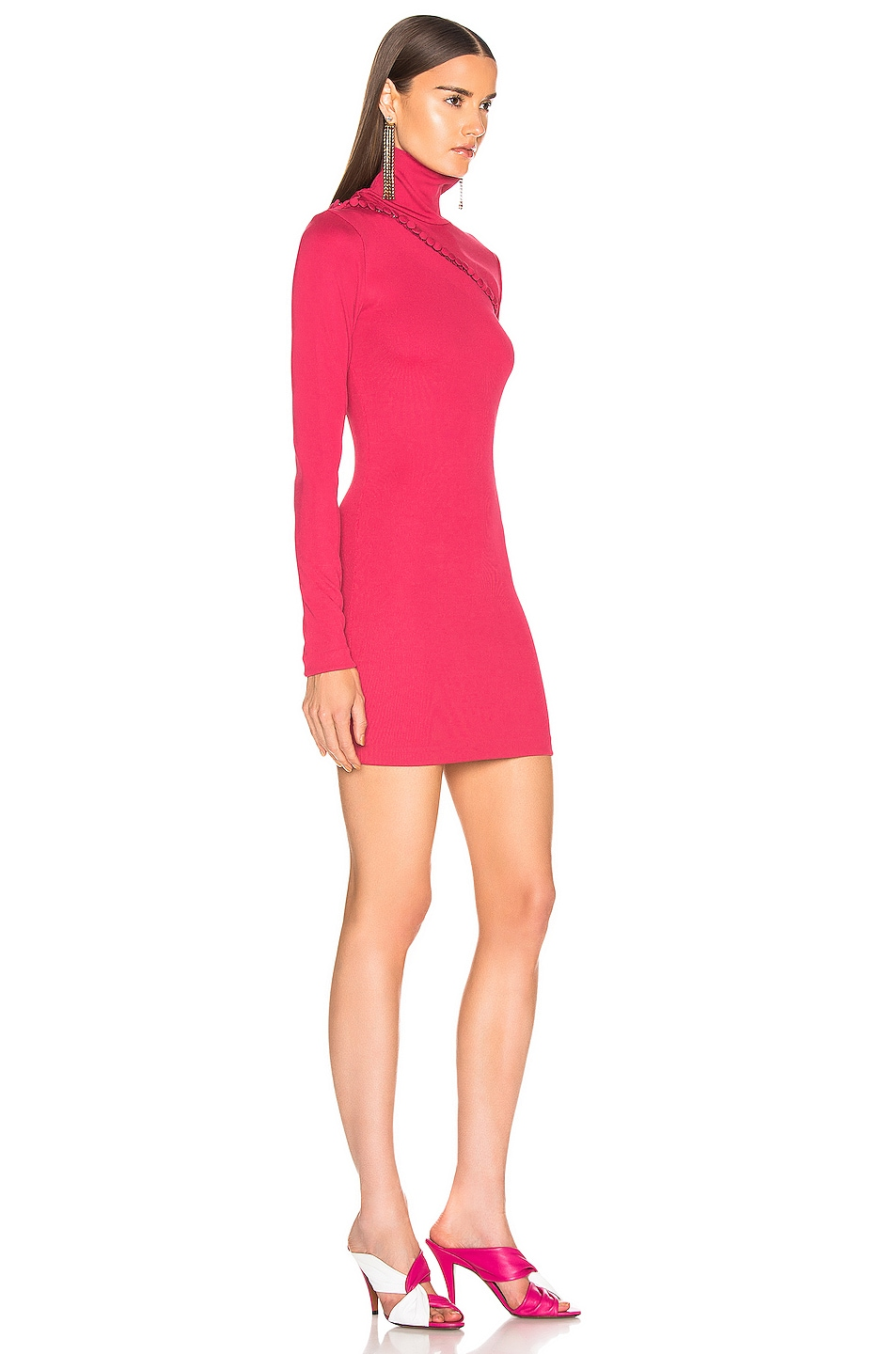 Image 2 of ROTATE Long Sleeve Turtleneck Mini Dress in Pink