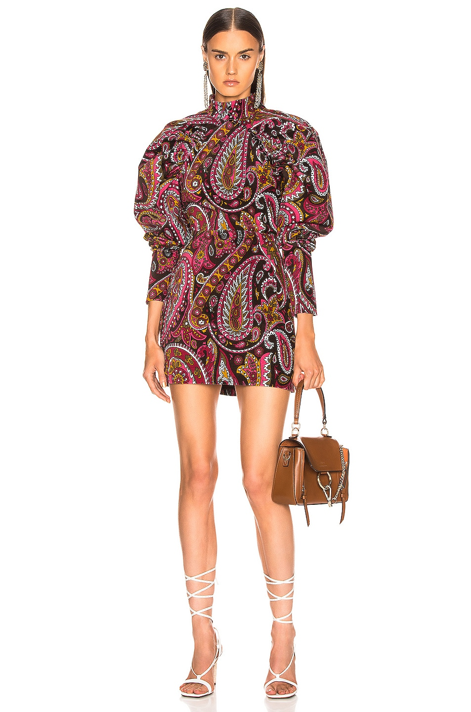 Image 1 of ROTATE Paisley Velvet Puff Sleeve Mini Dress in Raspberry Wine Combo