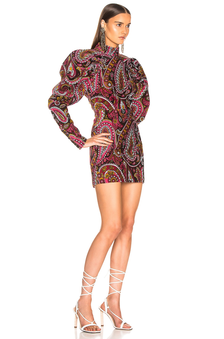 Image 2 of ROTATE Paisley Velvet Puff Sleeve Mini Dress in Raspberry Wine Combo