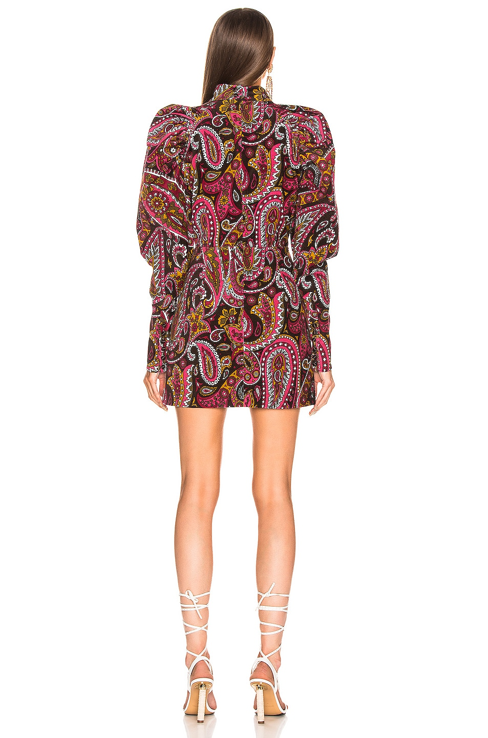 Image 3 of ROTATE Paisley Velvet Puff Sleeve Mini Dress in Raspberry Wine Combo