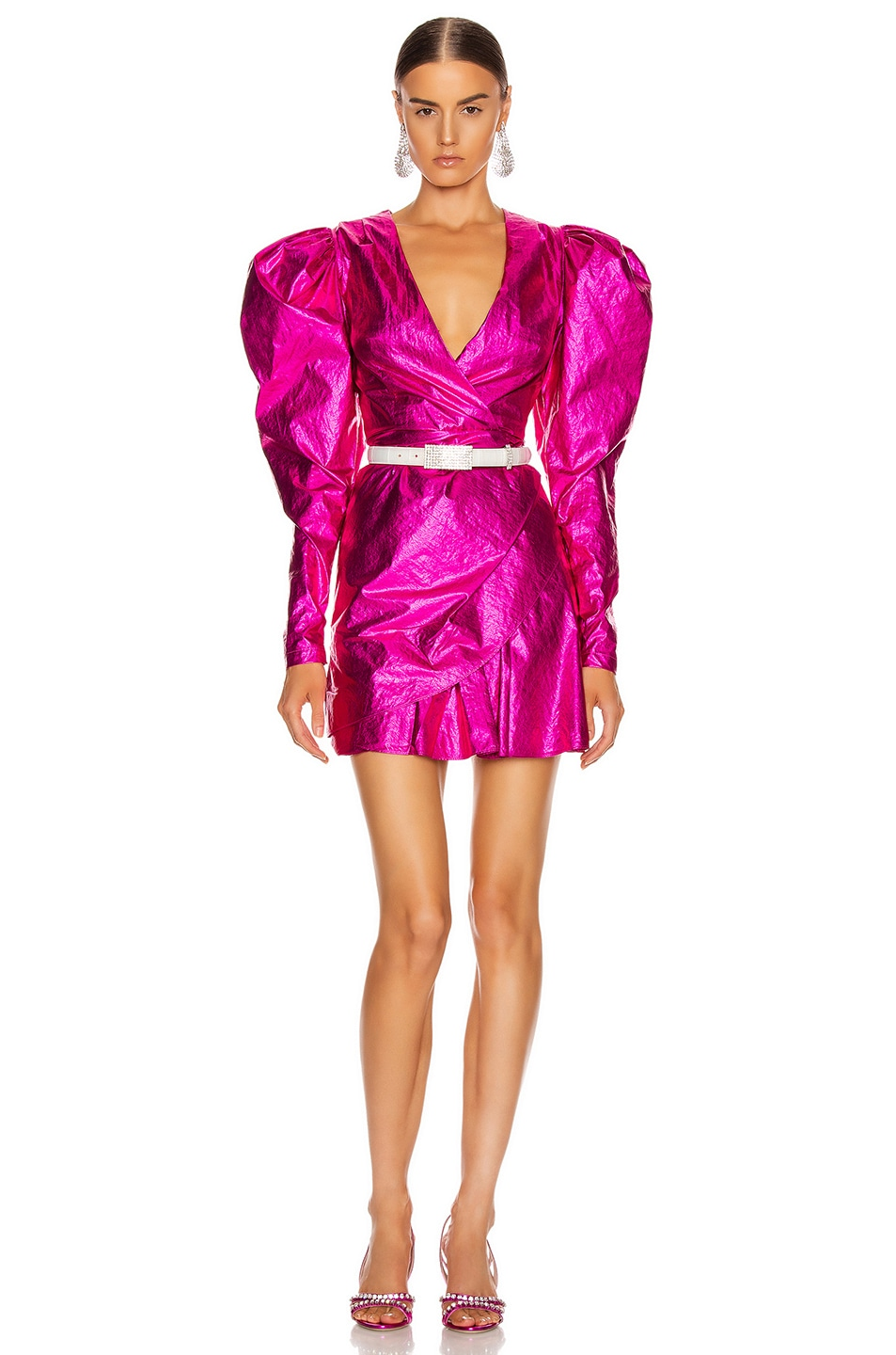Image 1 of ROTATE Puff Sleeve Mini Dress in Raspberry Metallic