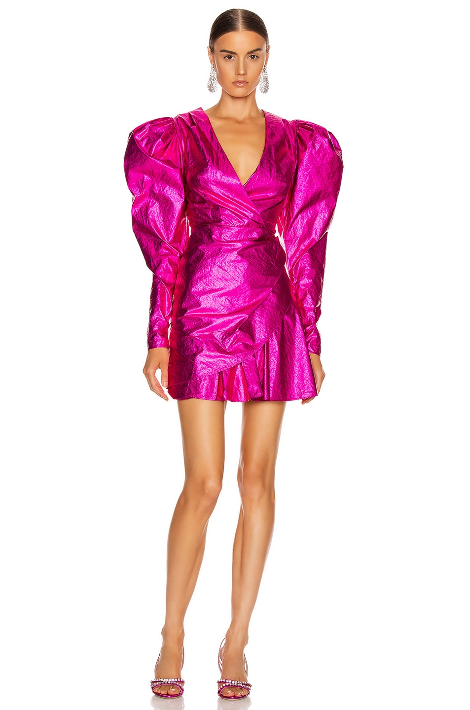 Image 2 of ROTATE Puff Sleeve Mini Dress in Raspberry Metallic