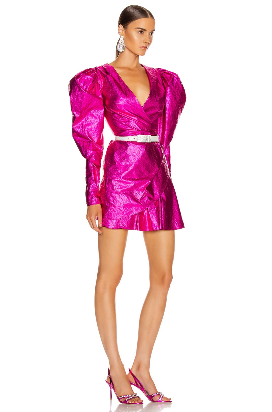 Image 3 of ROTATE Puff Sleeve Mini Dress in Raspberry Metallic