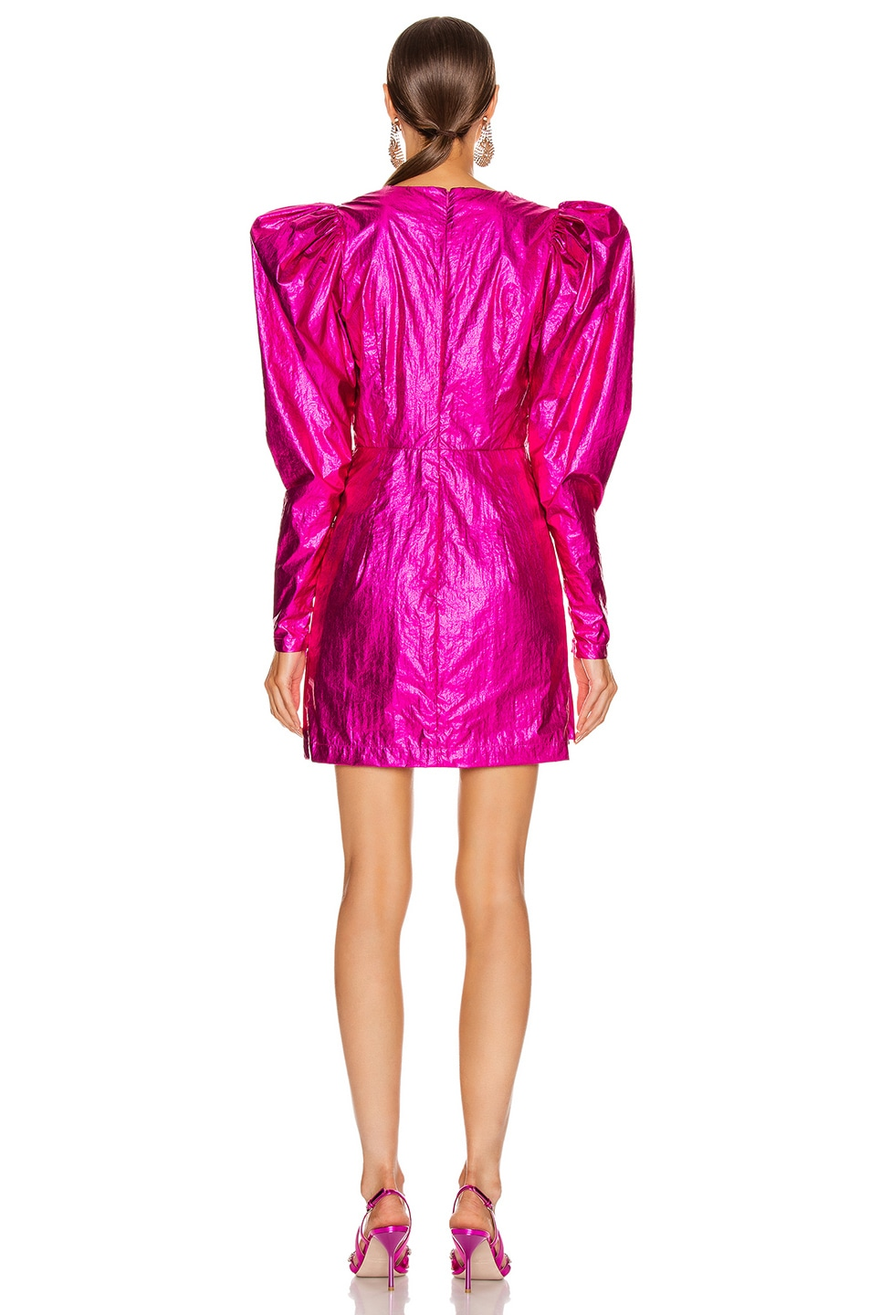 Image 4 of ROTATE Puff Sleeve Mini Dress in Raspberry Metallic