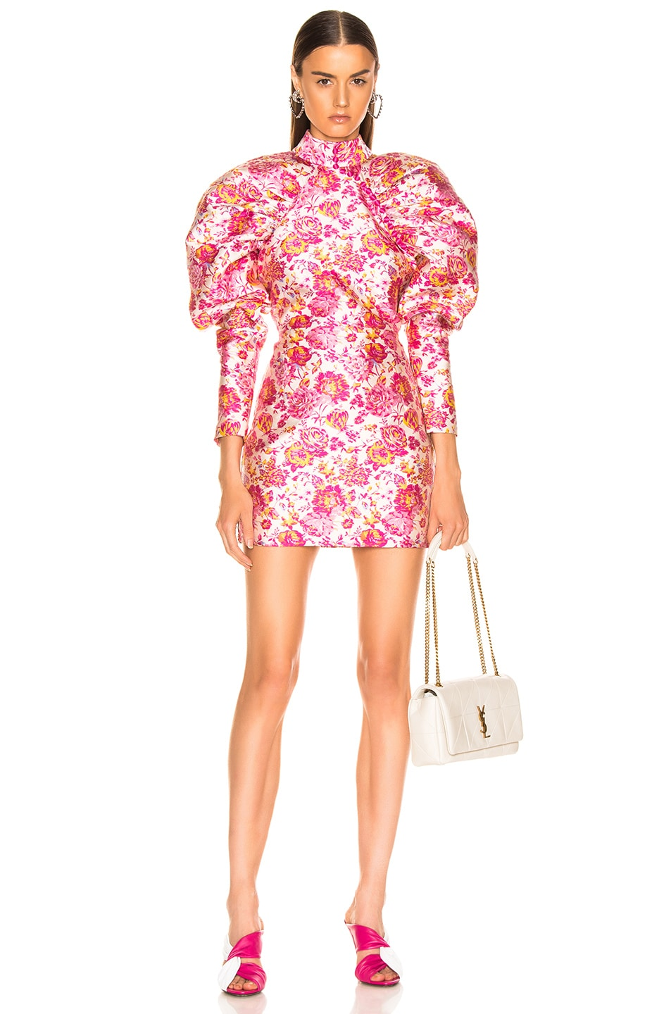 Image 1 of ROTATE Floral Puff Sleeve Mini Dress in Raspberry Rose Combo