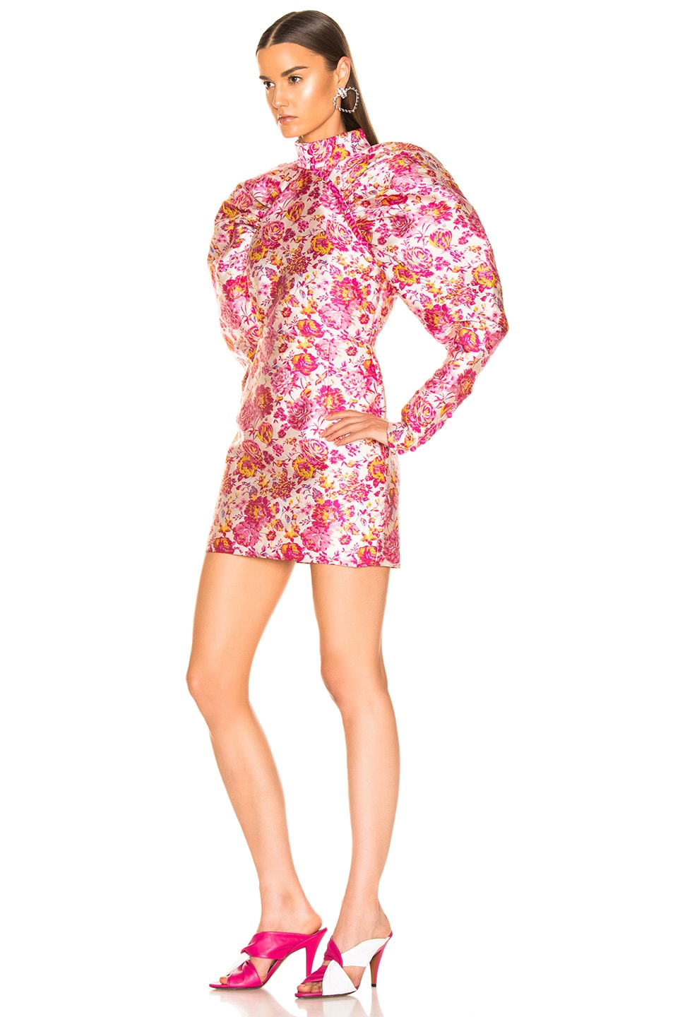 Image 3 of ROTATE Floral Puff Sleeve Mini Dress in Raspberry Rose Combo