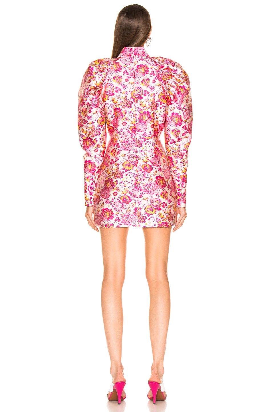 Image 4 of ROTATE Floral Puff Sleeve Mini Dress in Raspberry Rose Combo