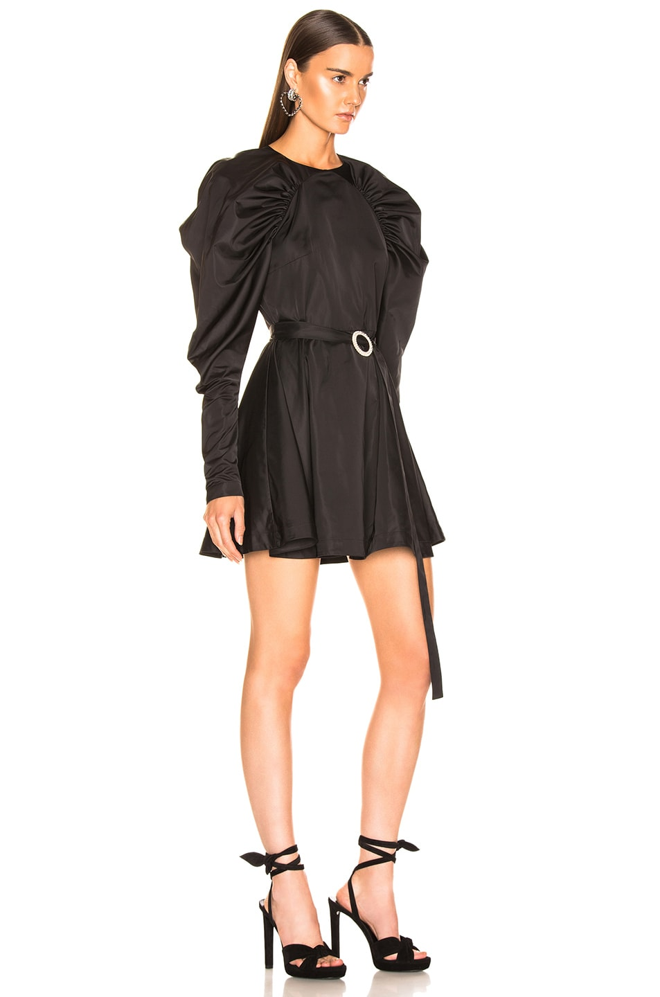 Image 2 of ROTATE Puff Sleeve Belted Mini Dress in Black