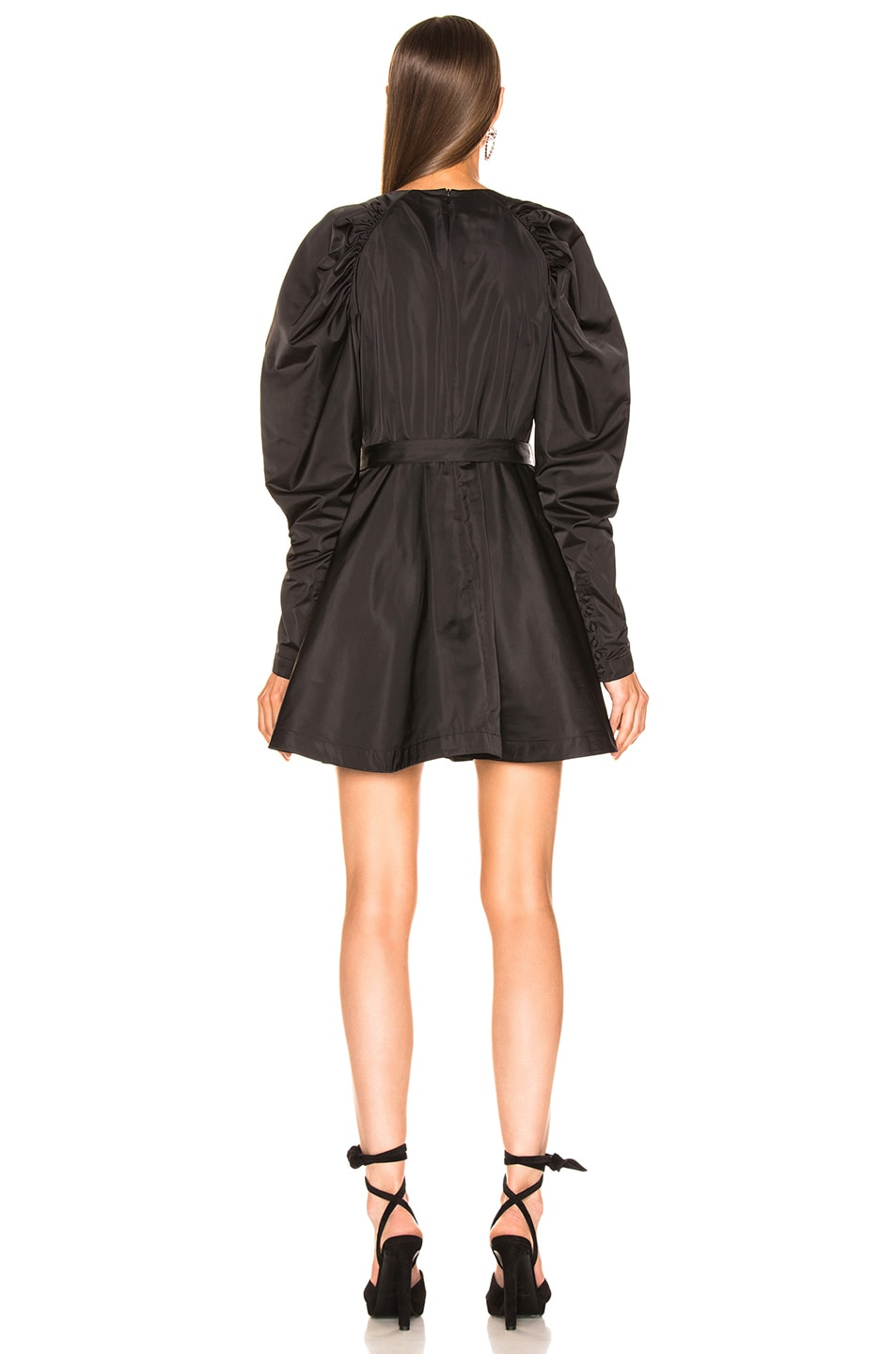 Image 3 of ROTATE Puff Sleeve Belted Mini Dress in Black