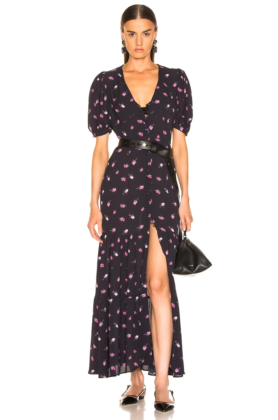 Image 1 of ROTATE Floral Dress in Rose & Black