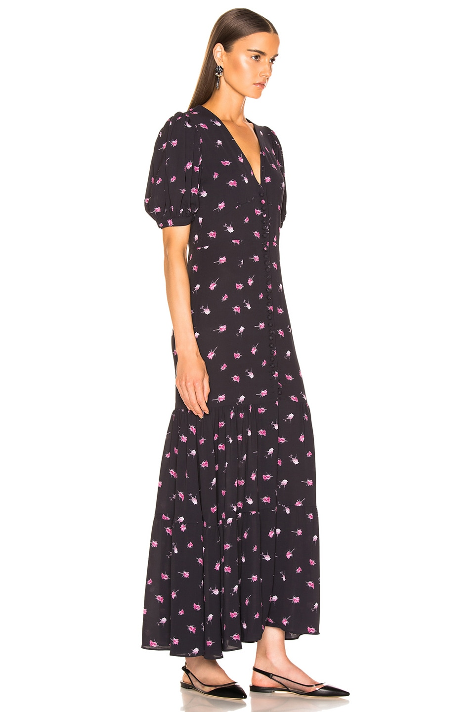 Image 2 of ROTATE Floral Dress in Rose & Black