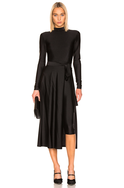 Image 1 of ROTATE Tie Long Sleeve Dress in Black