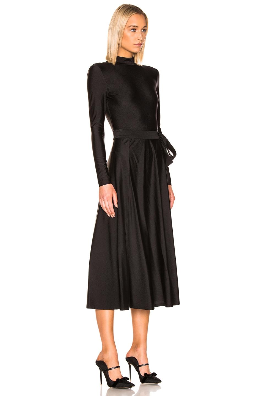 Image 3 of ROTATE Tie Long Sleeve Dress in Black