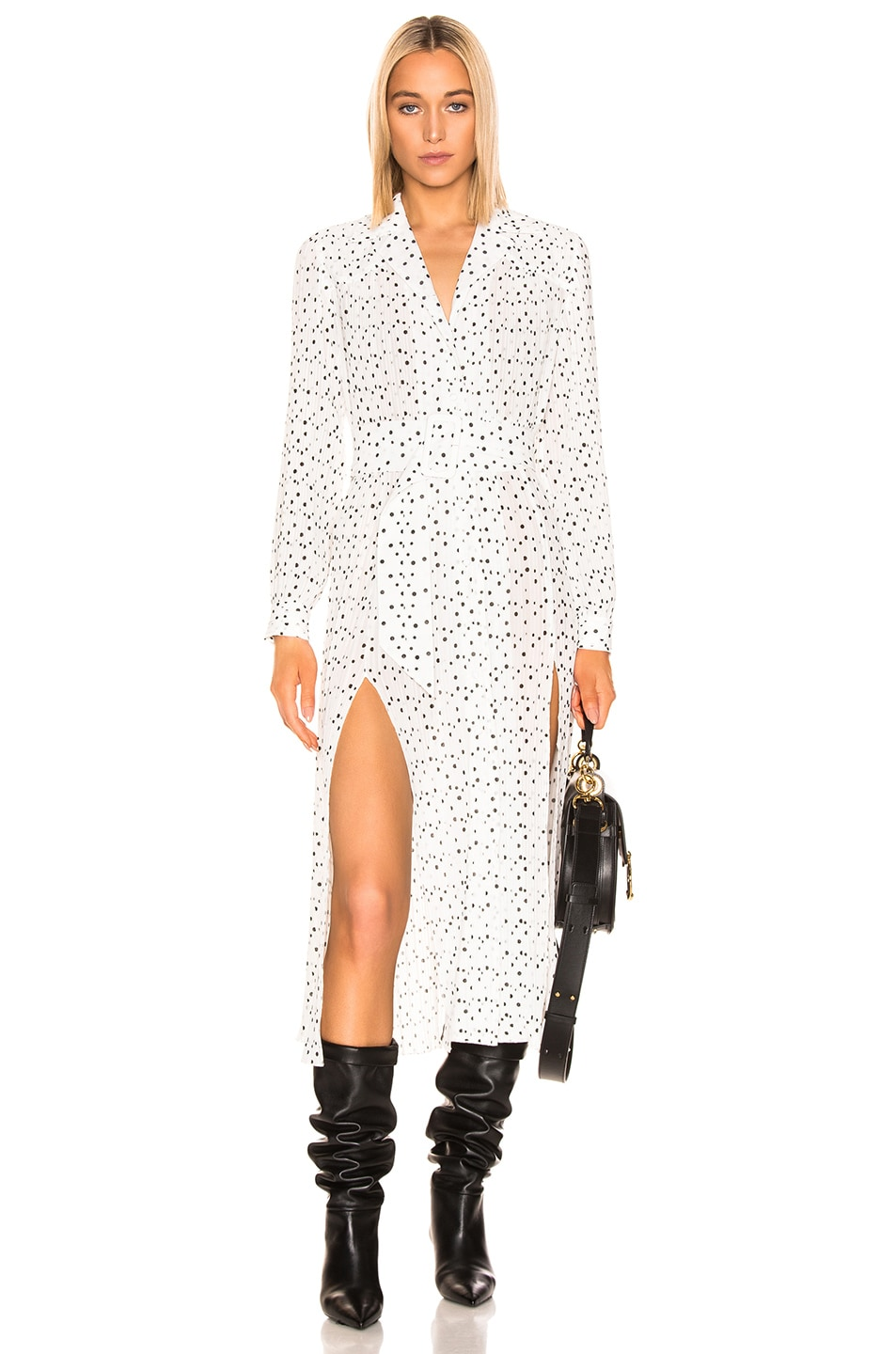 Image 1 of ROTATE Polka Dots Belted Slit Dress in Bright White