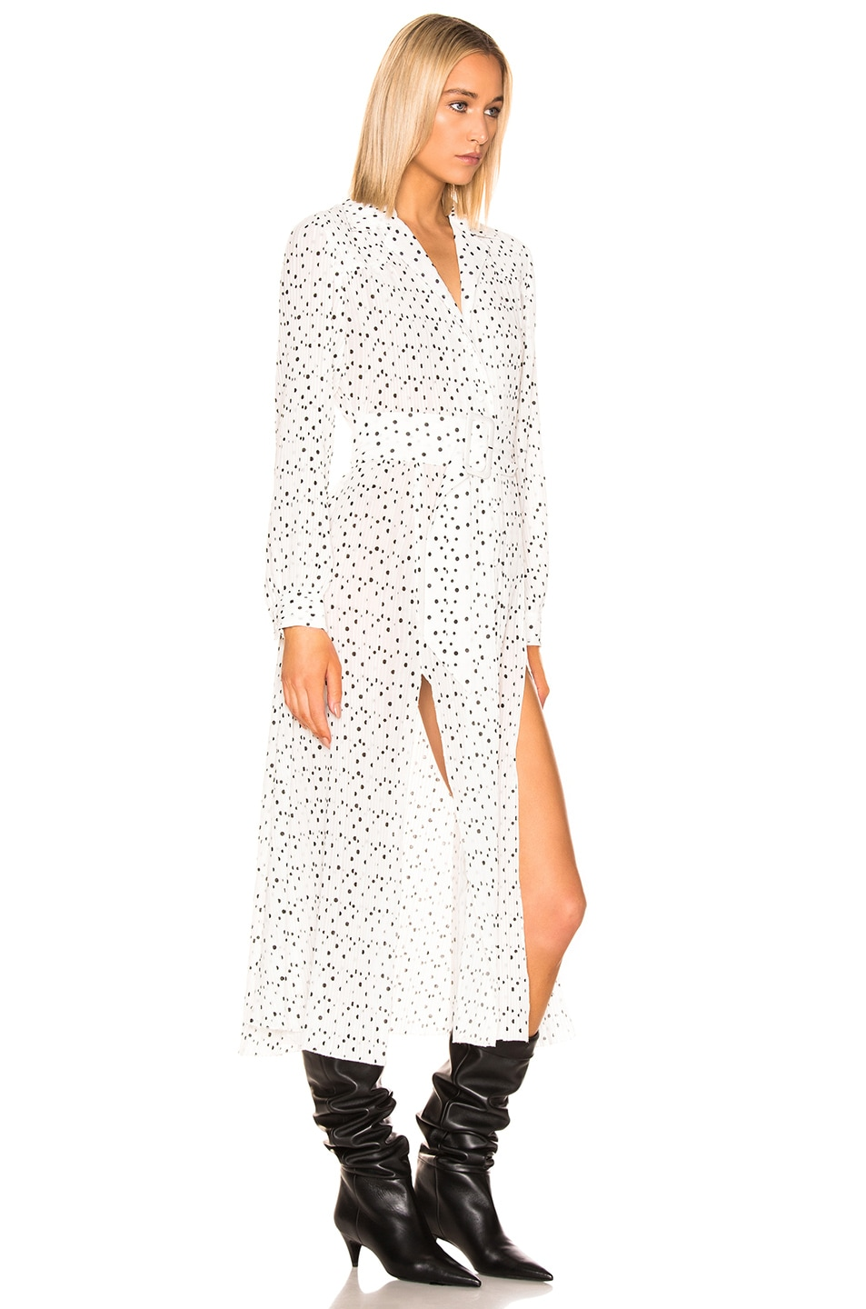 Image 2 of ROTATE Polka Dots Belted Slit Dress in Bright White