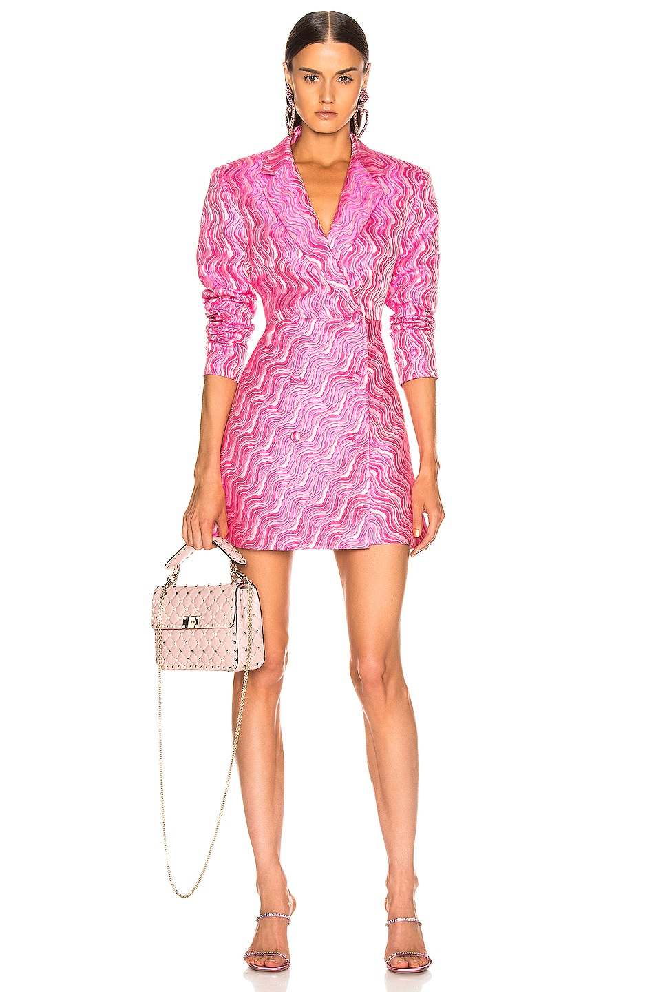 Image 1 of ROTATE Double Breasted Mini Blazer Dress in Pink Carnation