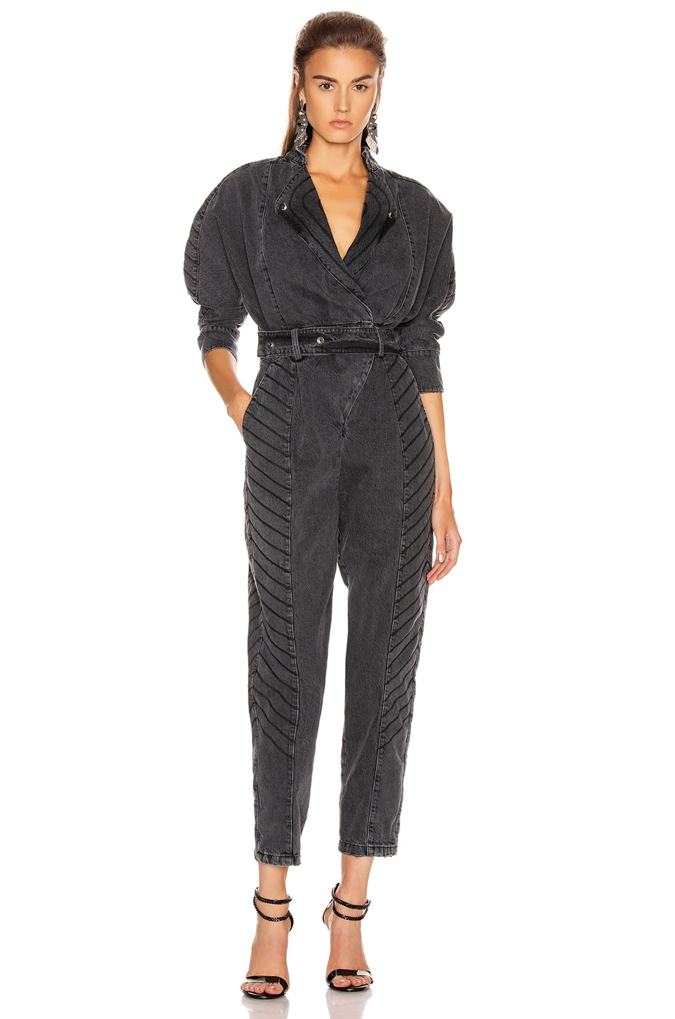 Image 1 of retrofete Milla Jumpsuit in Black Vintage