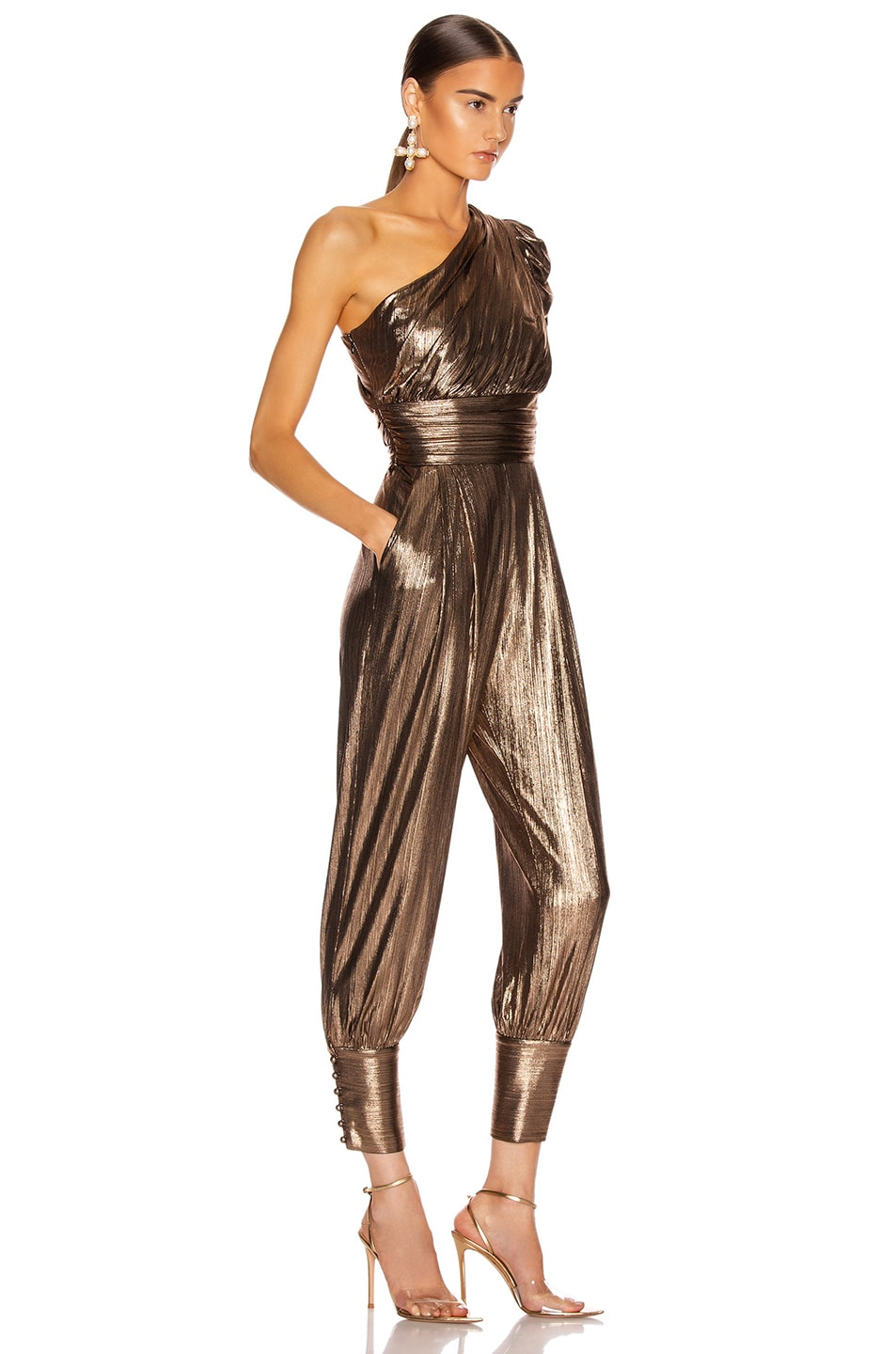 Image 2 of retrofete for FWRD Thambi Jumpsuit in Bronze