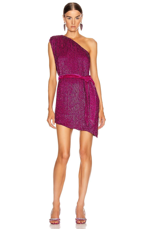 Image 1 of retrofete Ella One Sleeve Dress in Magenta