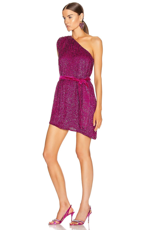 Image 3 of retrofete Ella One Sleeve Dress in Magenta