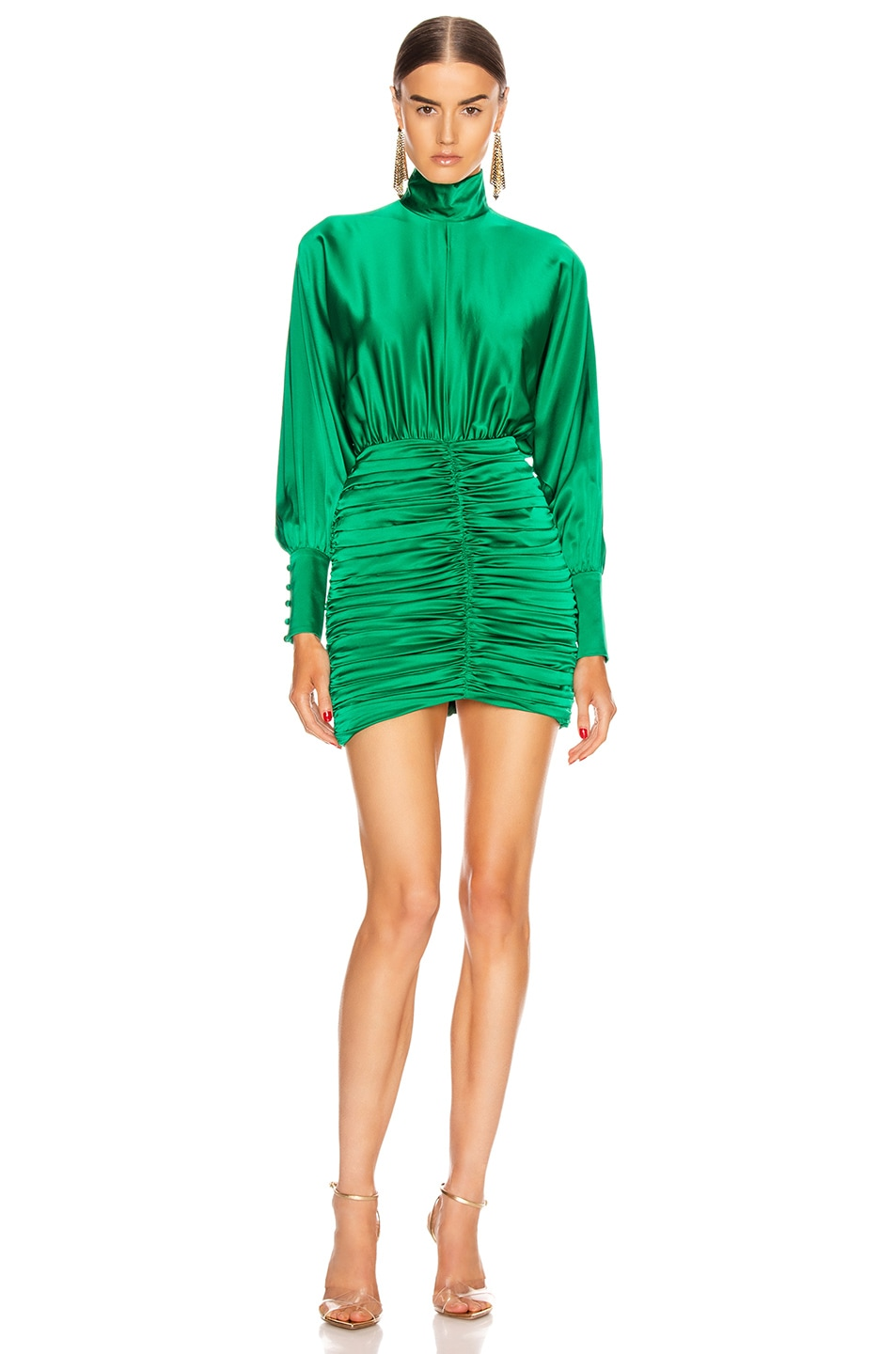 Image 1 of retrofete Barbara Dress in Emerald Green