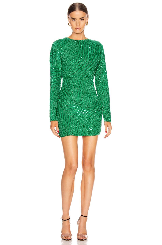 Image 1 of retrofete Ember Dress in Emerald Green