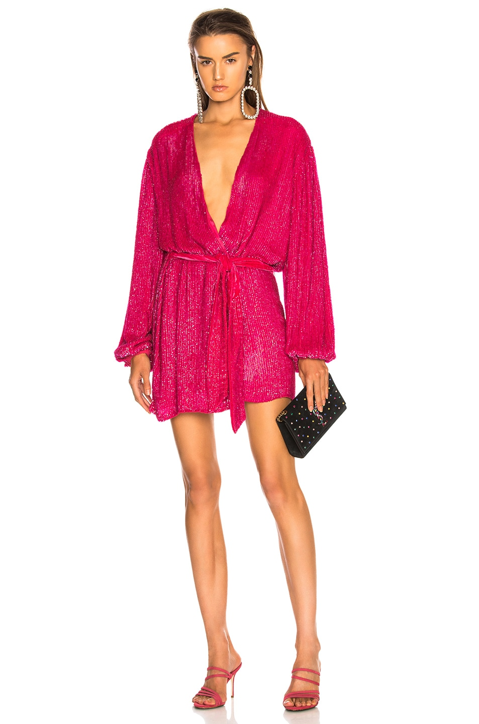 Image 1 of retrofete for FWRD Gabrielle Robe Dress in Metallic Fuchsia