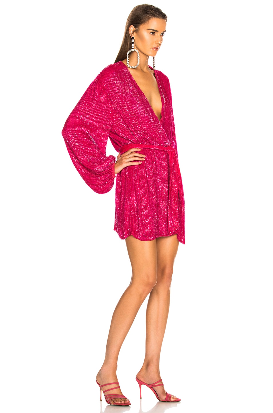 Image 2 of retrofete for FWRD Gabrielle Robe Dress in Metallic Fuchsia