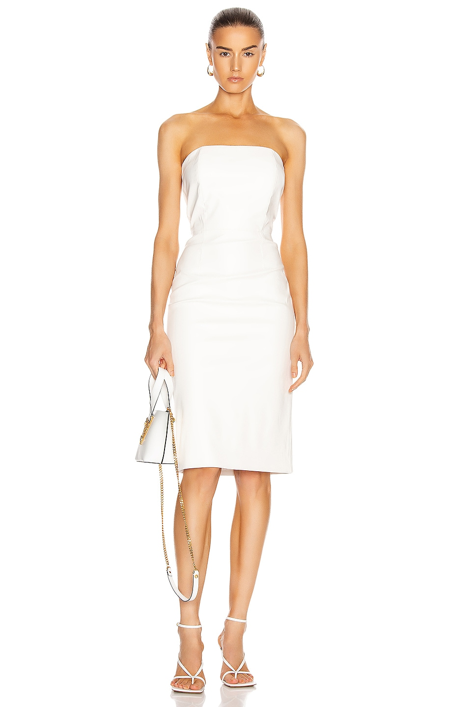 Image 1 of retrofete for FWRD Daniella Faux Leather Midi Dress in White