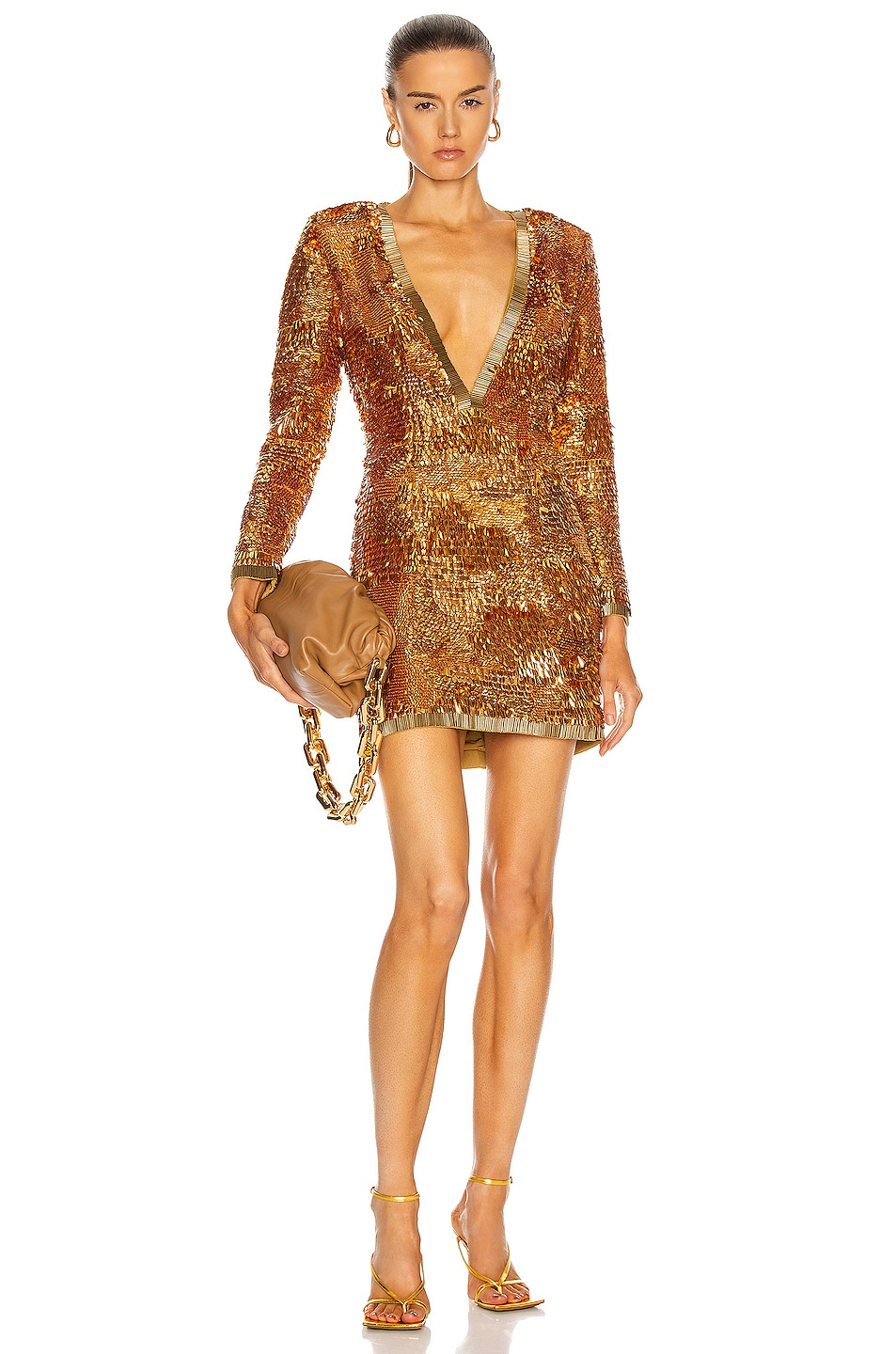 Image 1 of retrofete Paisley Dress in Gold