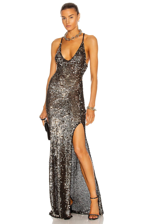 Image 1 of retrofete Marie Dress in Black & Gold