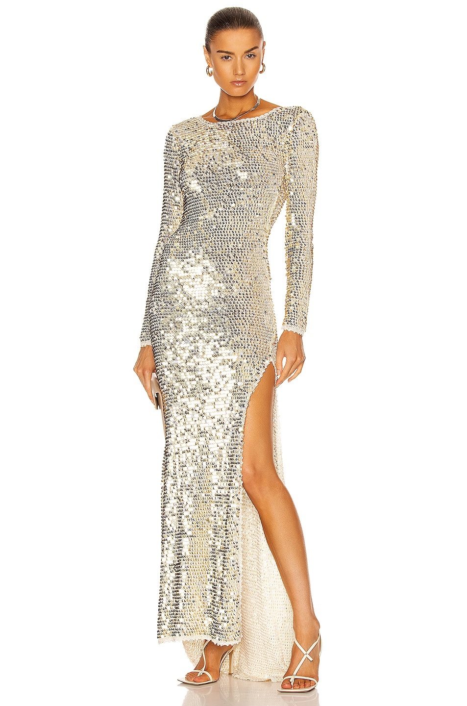 Image 1 of retrofete Alexa Dress in Ivory, Gold & Silver