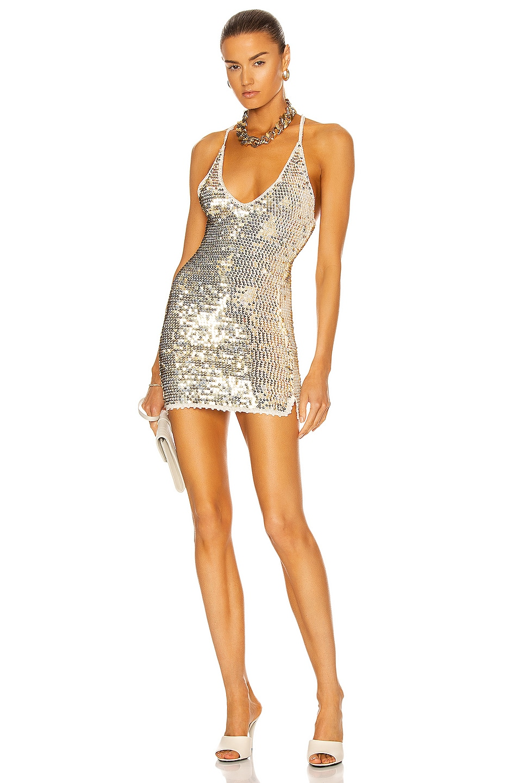 Image 1 of retrofete Elliana Dress in Ivory, Gold & Silver