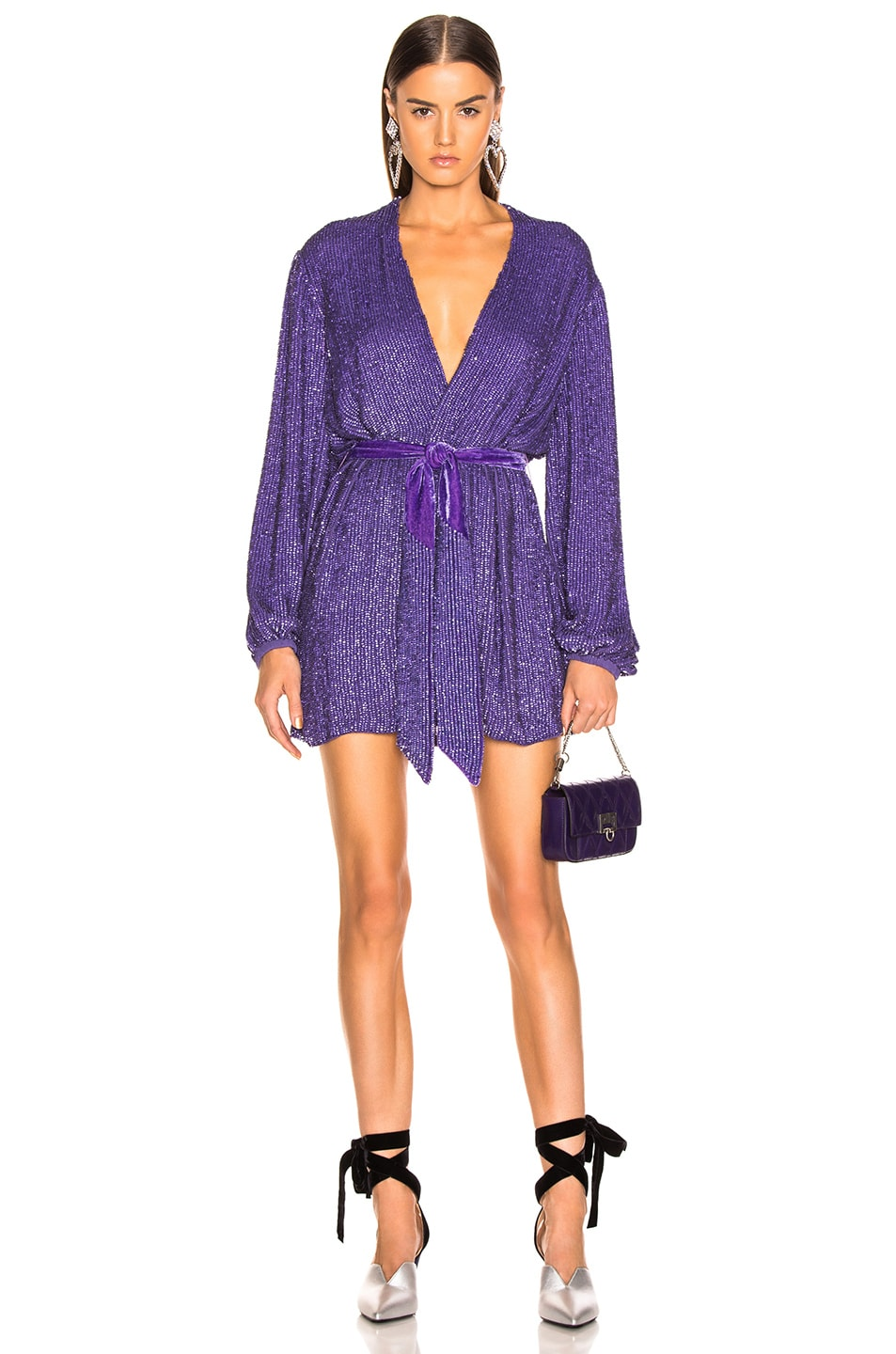 Image 1 of retrofete Gabrielle Robe Dress in Metallic Purple