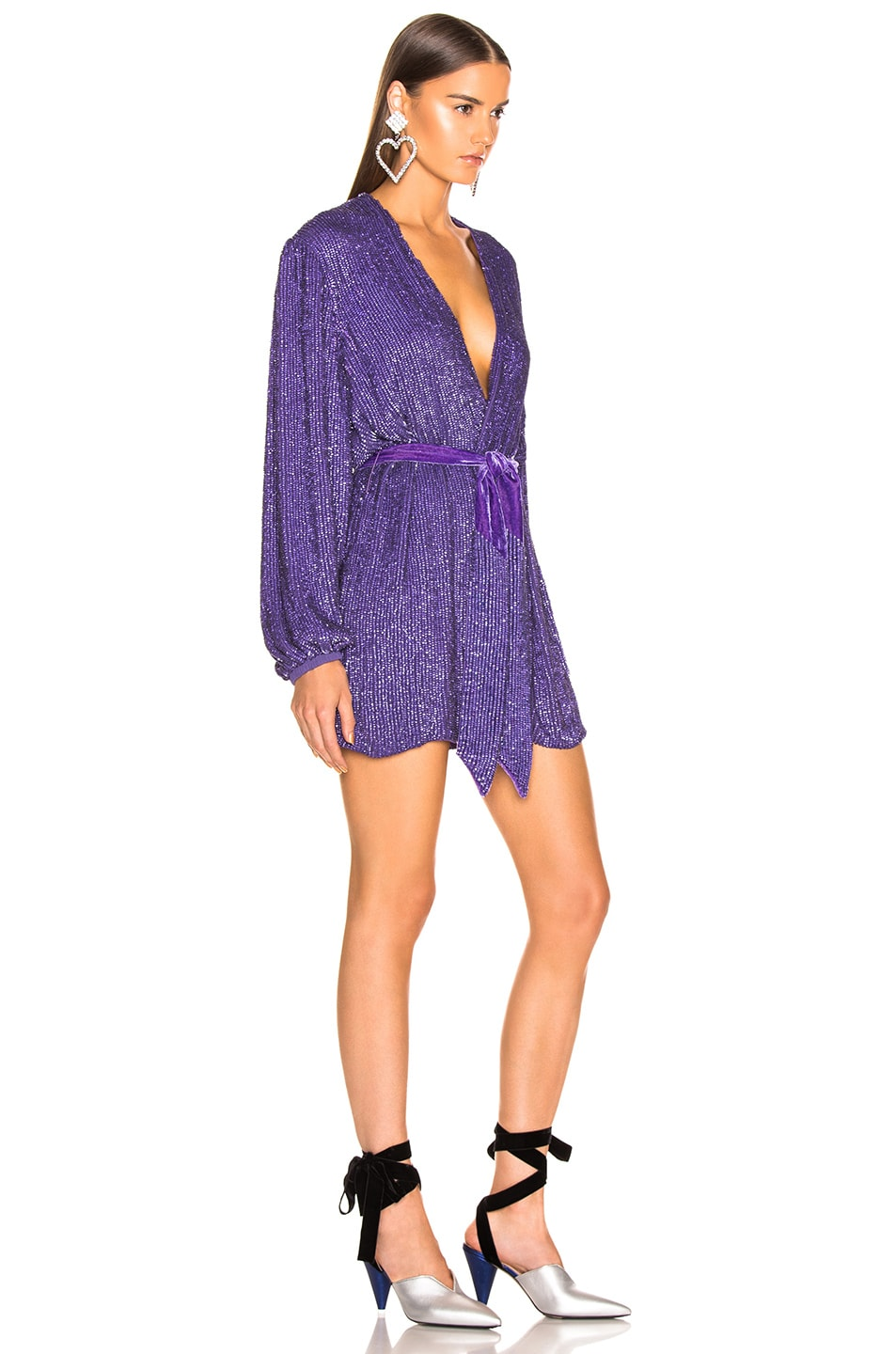 Image 2 of retrofete Gabrielle Robe Dress in Metallic Purple