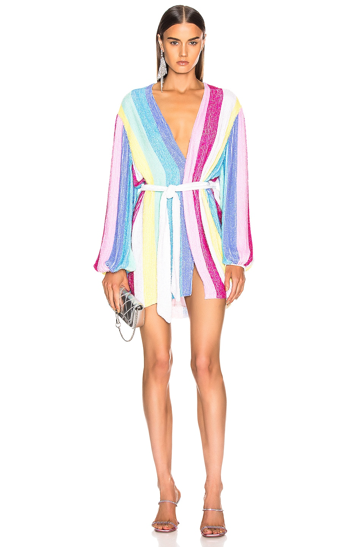 Image 1 of retrofete Gabrielle Robe Dress in Unicorn Stripes