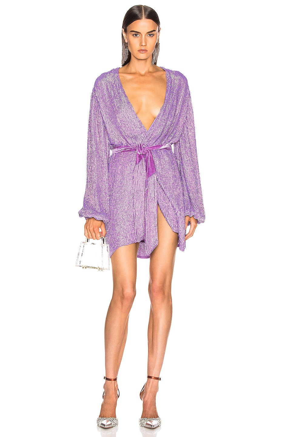 Image 1 of retrofete Gabrielle Robe Dress in Metallic Lavender